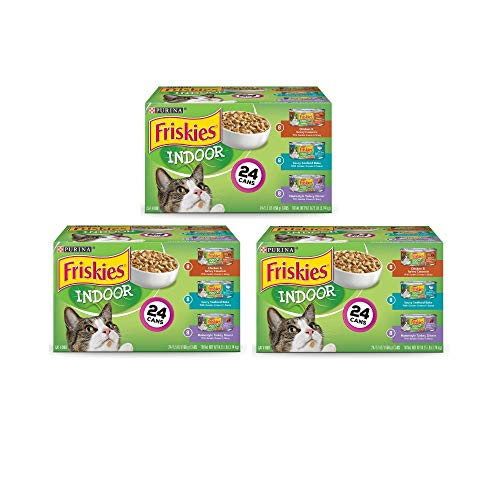 .Purina Friskies Indoor Adult Wet Cat Food Variety Pack – (24) 5.5 oz. Cans (3-Pack ((24) 5.5 oz. Cans))