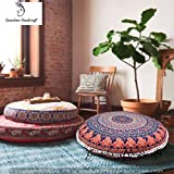 Ganesham Handicrafts- Psychedelic Mandala Tapestry, Round Seating Pouf Ottoman, Mandala Floor Pillow, Meditation Pillow Cover, Handmade Pillow Insert, Mandala Pillow Throw,Boho Pillow (Cover Only)