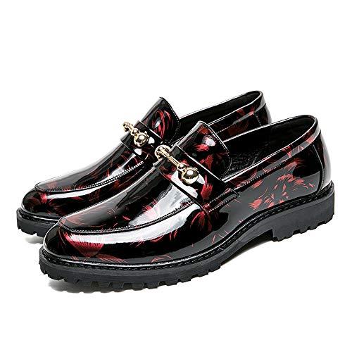 Nero bottoni alla uomo verniciata shoes abbinati Uomo Scarpe con Scarpe da metallo pelle moda antiruggine Trend Business in cerimonia Pelle Rosso 42 Oxford da in casual EU Xiaojuan Dimensione Color I4wq6H7xx