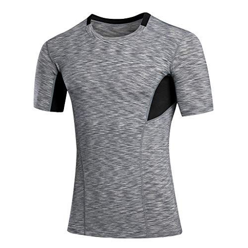 KINGOL Mens Summer Casual O-Neck Fitness T-Shirt Breathable