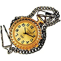 Mens Tel-Time Gold-Tone-Colored Pocket Talking Watch with Gold-Toneen Chain