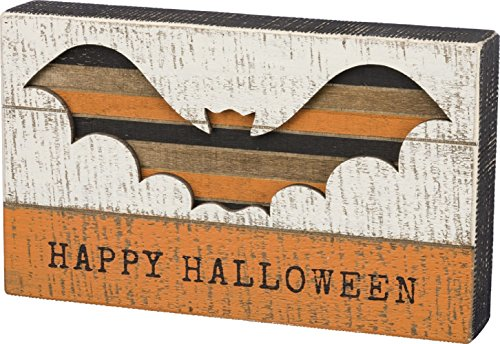 Primitives by Kathy Slat Box Sign - Bat Cut Out - Happy Halloween