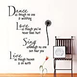 dance as though no one is watching love quote wall decals removable pvc wall stickers home