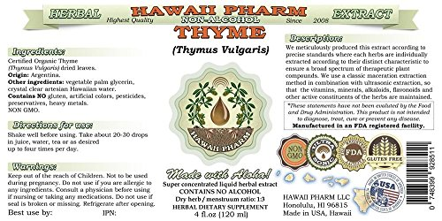 Thyme Alcohol-FREE Liquid Extract, Organic Thyme (Thymus Vulgaris) Dried Leaf Glycerite Natural Herbal Supplement, Hawaii Pharm, USA 2x4 fl.oz by HawaiiPharm (Image #1)