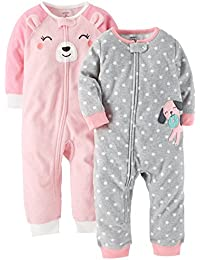 Baby Girls 2-Pack Fleece Footless Pajamas