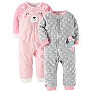 Carter's Baby Girls' 2-Pack Fleece Footless Pajamas, Puppy/Bear, 12 Months