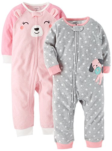 Carter's Baby Girls' 2-Pack Fleece Footless Pajamas, Puppy/Bear, 18 Months