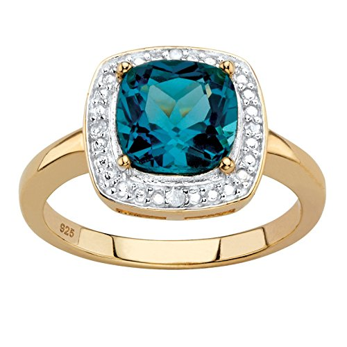Genuine Cushion-Cut London Blue Topaz Diamond Accent 14k Gold over .925 Silver Halo Ring