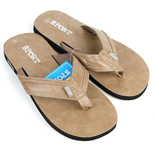 Men's Sports Beach Pool Indoor Outdoor Flip Flops Sandals Slippers Khaki 1MgfWb