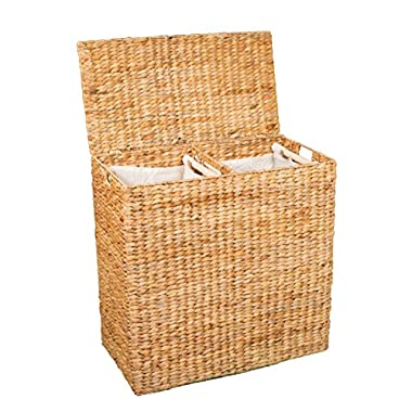 BirdRock Home Water Hyacinth Laundry Hamper with Divided Interior (Natural) | Environmentally Friendly | Made of Hand Woven Hyacinth Fibers | Includes Two Removable Cotton Liners