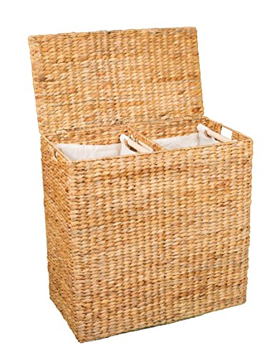 Large Natural Wicker - BirdRock Home Water Hyacinth Laundry Hamper Divided Interior (Natural) | Eco Friendly | Made of Hand Woven Hyacinth Fibers | Includes Two Removable Cotton Liners Bag | Wicker Laundry Basket with Lid