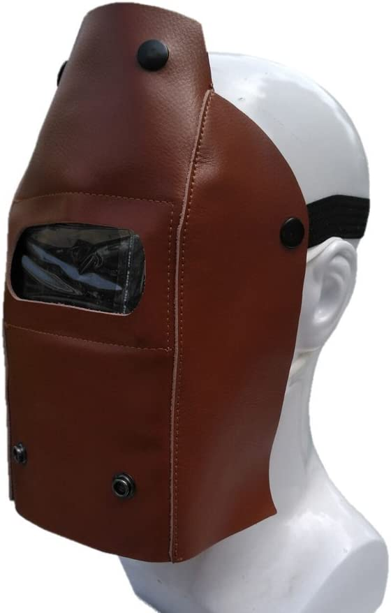 coffee Profession Welding Helmet Whole Piece Leather Protective Gear Mask Work Cap Cowhide Mask Welding Hood Helmet Roll-Up with Button Easy to Carry DHMZ05 ZhuoLang