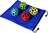Waboba MOON Extreme Bounce Bundle of 4 Balls _ in 4 Neon Colors _ BONUS Soft Nylon Net Drawstring 9 x 12'' Royal Blue Carry Bag