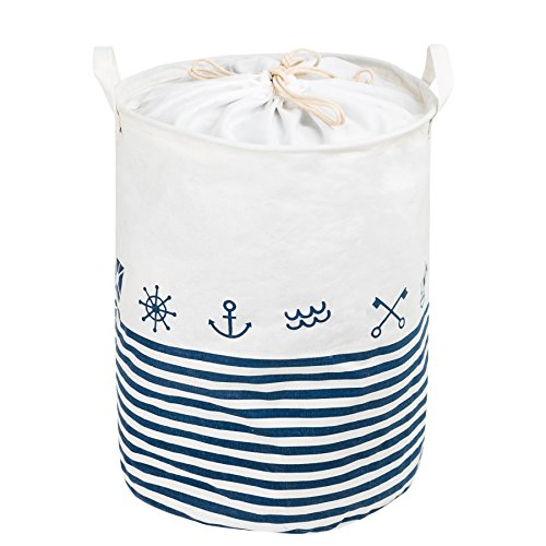 Zonyon Collapsible Laundry Hamper, 15.7'' Jumbo Large Dirty Clothes Laundry Storage Basket with Drawstring for Kids,Boys,Girls,Toys,Closet,College Dorm,Bathroom,Blue Nautical Theme