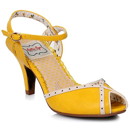 Womens Jocelyn Platform Sandal (Bettie Page Women's BP320 Jocelyn Peep Toe Ankle Strap Sandal, Yellow, Size - 6)