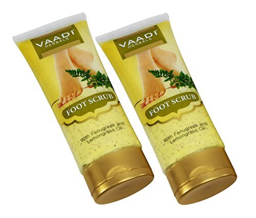 Foot Scrub Cream for Calloused and Dry Feet - Natural, Anti-fungal Callus Remover and Therapeutic Exfoliator - Fast Absorbing. Exfoliant Dead Foot Tissues & Rejuvenates the Rough & Damaged Foot Skin. Makes Your Feet Super Soft & Supple. Made with Fenugree by Vaadi Herbals (Image #3)