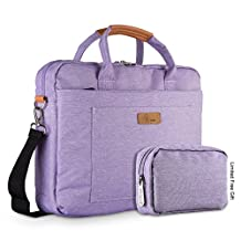 E-Tree 15-15.6 Inch Laptop and Tablet Bag, Shock & Water Resistant Sleeve Briefcase for Macbooks/Ultrabooks/Chromebooks/Notebooks w/ Handle & Carrying Shoulder Strap - Purple