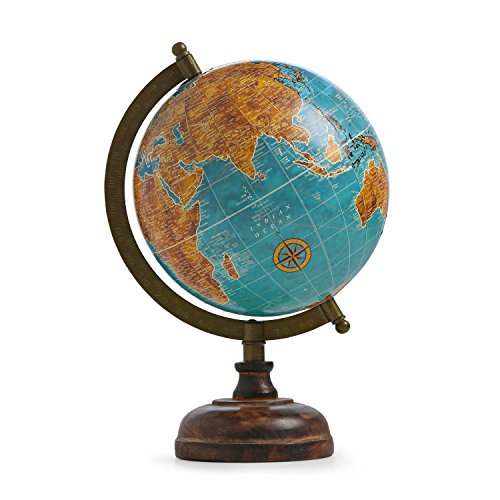 Blue Decorated Rotating Globe Iron Stand Word Map Globe Antique Plastic Rotating Globe Decor Table Top Globe ()