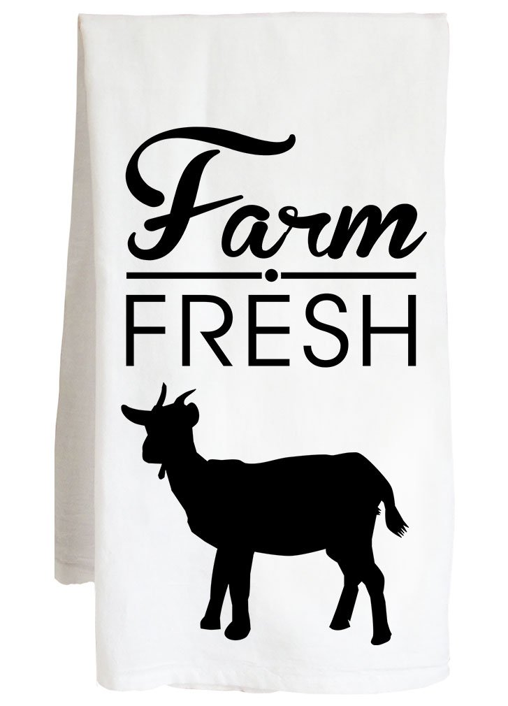 FARM FRESH GOAT - livestock animal farmer - Farm Flour Sack Kitchen Tea Towel