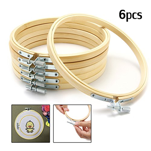 KINGSO 6pc 6Inch Cross Stitch Hoop Embroidery Hoop Pieces Embroidery Circle Set Hoops Ring Wooden Round Adjustable Bamboo Hoops Bulk Crosses For Arts, Crafts ,Sewing