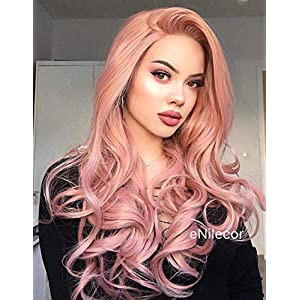 eNilecor Pink Lace Front Wigs,Long Curly Synthetic Color Lace Wig Hair Replacement Wigs for Women 22 Inches with Wig Cap…
