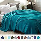 Bedsure Flannel Fleece Luxury Blanket Teal Blue Queen Size Lightweight Cozy Plush Microfiber Solid Blanket by
