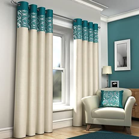 Teal Blue Retro Lined Eyelet Curtains Faux Silk Skye 46x90 By Ideal Textiles