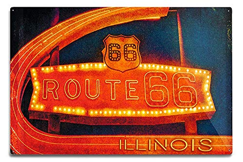 Lilyanaen New Great Illinois Route 66 Neon Sign Aluminum Wall Sign Wall Decor Ready to Hang for Outdoor & Indoor 12 x 18 in