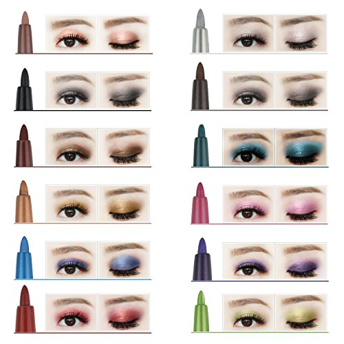 12pcs Multicolor Eyeshadow pencil, obmwang Eyeliner Pen Lip Liner Eye Pencil