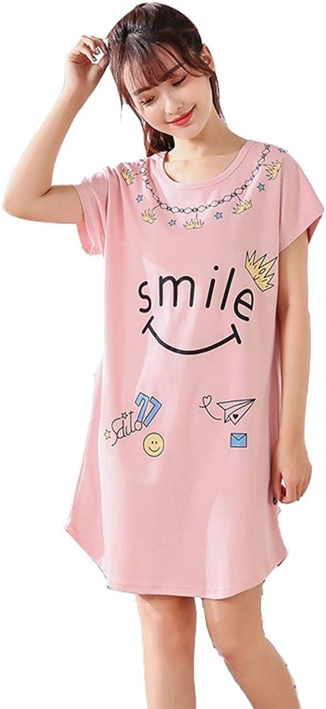 Pijamas Mujer Verano Algodon Manga Corta Vestido De Dormir Talla ...