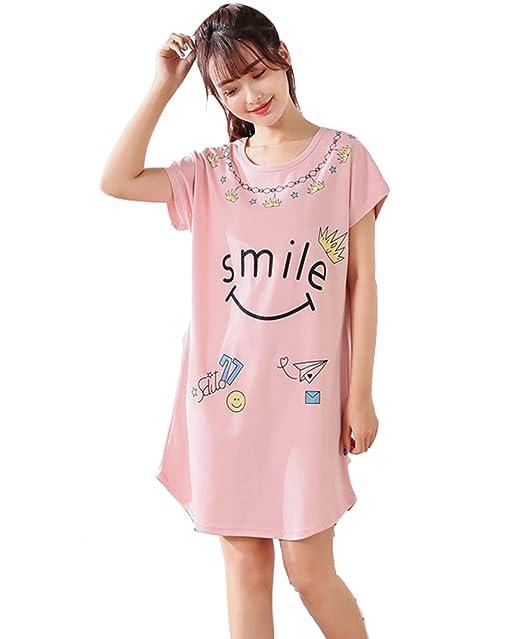 5a549bc0b1 Pijamas Mujer Verano Algodon Manga Corta Vestido De Dormir Talla Grande  Pijama Mujer Animales(M