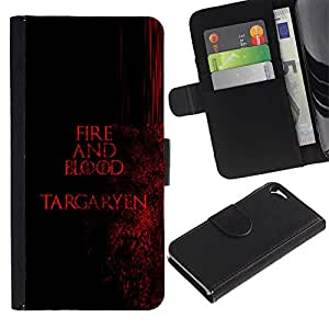 NEECELL GIFT forCITY // Billetera de cuero Caso Cubierta de protección Carcasa / Leather Wallet Case for Apple Iphone 5 / 5S // Fuego y Sangre Targaryen