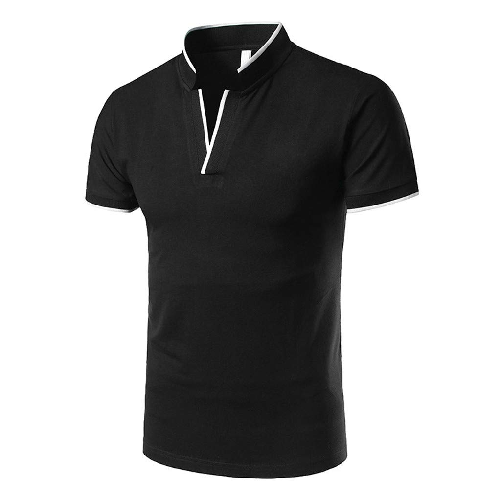 Kiasebu Men's Short Sleeve Moisture Wicking Performance Striped Solid Patchwork Stand Collar Golf Polo Shirt by Kiasebu_Men T-Shirts (Image #1)