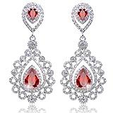 EVER FAITH Rhinestone Crystal CZ Vintage Style Teardrop Chandelier Earrings Ruby Color Silver-Tone
