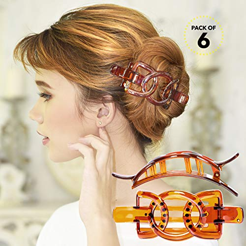 RC ROCHE ORNAMENT Womens Plastic Side Slide Wide Ribbon Bow Styling Durable Strong Hold Firm Grip Teeth Beauty Accessory Hair Clip Clamp, 6 Pack Count Large Brown ()