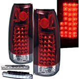 1988-1998 CHEVY C/K SERIES REAR BRAKE TAIL LIGHTS LAMP RED+LED BUMPER RUNNING