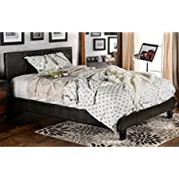Furniture of America Lauren Leatherette Upholstered Platform Bed, Queen, Dark Espresso