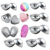 Metal Bath Bomb Molds Set of 8, 2 Shell Shape, 12Hemispheres, 2 Heart Shape, Cake Pan Molds, Aluminum by LoveS