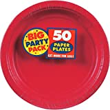 Amscan Big Party Pack Paper Dinner Plates Supplies (300 Piece), Apple Red