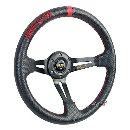 Momo Racing Steering Wheels - 350mm MOMO Style 3 Spoke PVC Leather Carbon Fiber Style Deep Dish Sport Drift Racing Steering Wheel