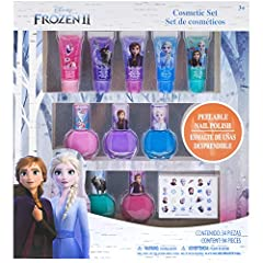 Throw a party or give a gift of an officially licensed Frozen cosmetic kit. Set includes: Lip gloss, nail polish and nail stickers. Each item in these kits is decorated with images of everyone's favorite Frozen. Non-toxic and water-based form...
