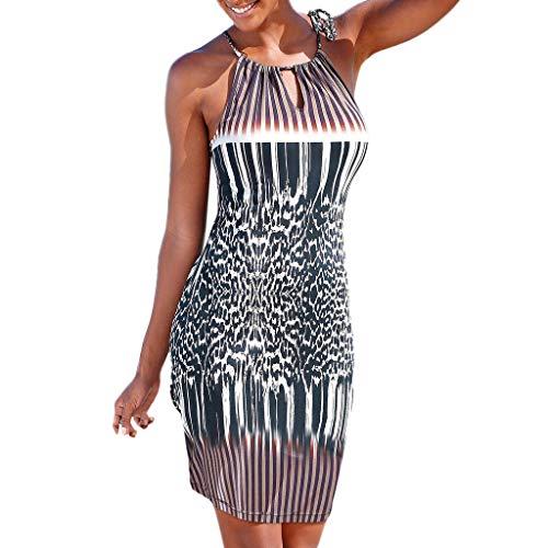 Summer Halter Neck Sundress Sleeveless Dress Boho Print Sleeveless Casual Mini Beachwear Dress by Gyouanime Black
