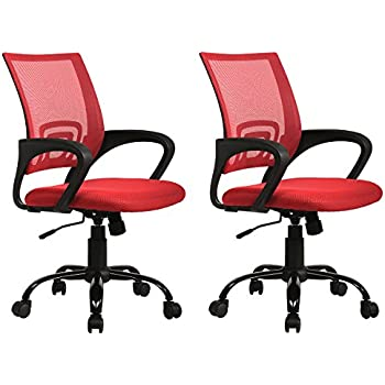 Sets Of 2 Ergonomic Mesh Computer Office Desk Task Chair W/Metal Base H12  Red