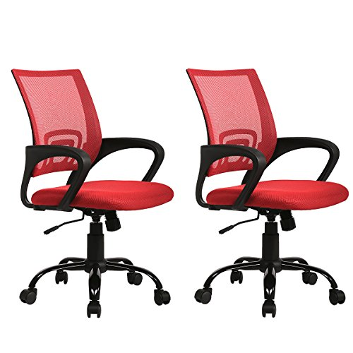 Sets of 2 Ergonomic Mesh Computer Office Desk Task Chair w/Metal Base H12 Red by BestOffice
