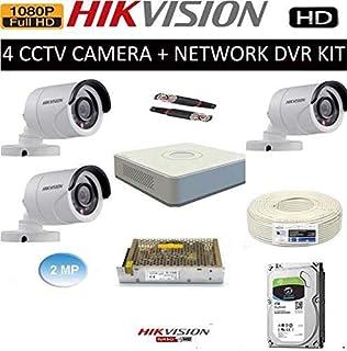 Buy Hikvision Full HD (2MP) 4 CCTV Camera & 4Ch Full HD DVR Kit (All