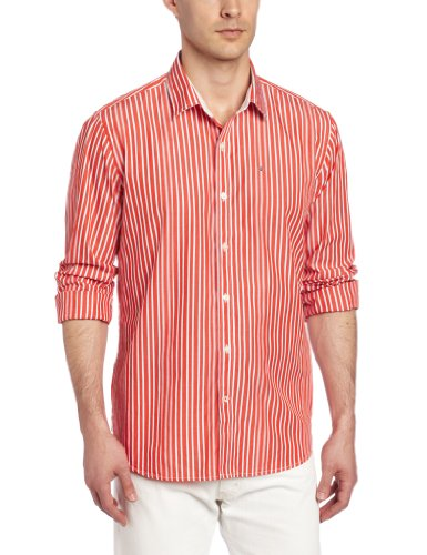 Victorinox Men's Villamont Tailored Fit Long Sleeve Striped Shirt, Fire Orange, X-Large