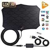 TV Antenna Indoor Amplified HD Digital Television Antenna Long 80-120 Miles Range - Support 4K 1080p and All Older TV's Powerful HDTV Amplifier Signal Booster - 18ft Coax Cable/AC Adap