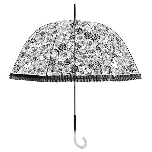 Becko Stick Umbrella / Flower and Heart Pattern Clear Canopy Bubble Umbrella / Transparent Dome Shape Princess Style Rain Umbrella with Gradient J-handle for Wedding / Party / Camping (Black)
