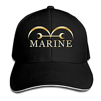 KMRR One Piece Marine Flag Anime Gold Logo Flex Baseball Cap Black