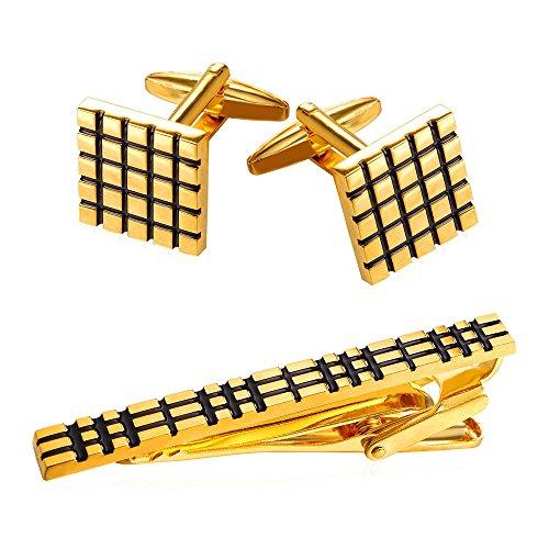 U7 18K Gold Plated Cubic Square Cufflinks Tie Clip -